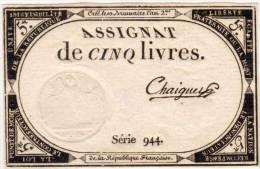 Assignat De Cinq Livres - Série 944 - Signature Rare - Crée Le 10 Brumaire L' An 2°  (65897) - Assignats & Mandats Territoriaux