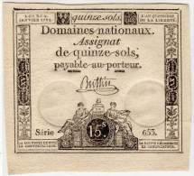 Assignat De Quinze Sols - Série 653 - Signé : Buttin - L' An 4° De La Lberté   (65898) - Assignats