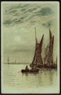 """""""Sailing Boats At Dusk"""",  Posted 1904 (light """"LONG STRATTON"""" Sq Circle). - Sailing Vessels"""