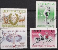 SP 034) Liberia MiNr 498-501 O: Olympia 1956: Känguru Emu, Diskuswerfer, Siegesengel, Quadriga Pferde - Francobolli