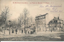 MONTREUIL SOUS BOIS - LA PLACE DU MARCHE - ET LA POSTE - Montreuil