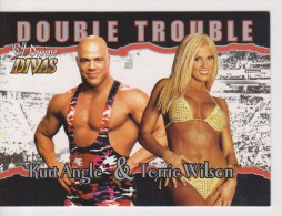 WWE 2003 Fleer Card TORRIE WILSON Sexy Bikini Wrestling Double Trouble Divine Divas Duo With KURT ANGLE - Trading Cards