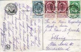 Belgien 1910, 4 Fach Sonder-Frankierung Auf Ak Exposition Universelle De Bruxelles 1910, Stempel Station Ostende - Abarten Und Kuriositäten