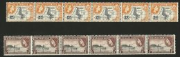 (4697) -  Nyasaland 1953/54 QE Def's  1/2d A. 2d Coil Stamps In Strips Of 5 - Nyassaland (1907-1953)