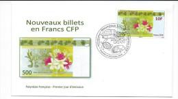 13527 - TORTUE - POLYNESIE FRANCAISE - NOUVEAUX BILLETS CFP - 1er JOUR - 500CFP - 2014 ( TORTUE- POISSON Dans Le Cachet - Schildpadden