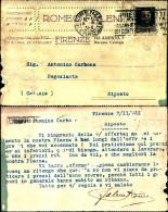 305)cartolina Postale  Romeo Faleni Da Firenze A Riposto 30cent Fascetto Timpro A Targhetta - 1900-44 Vittorio Emanuele III