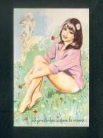 Carriere - Le Printemps Inspire La Reverie ( Pin Up Jeune Fille Culotte Ange Cupidon Fleurs Des Champs 30323 - Carrière, Louis