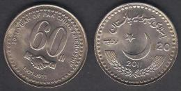 PAKISTAN 20 Rupees COMMEMORATIVE COIN 60 Years Of Friendship With CHINA, Handshake, UNC 2011 Rare - Pakistan