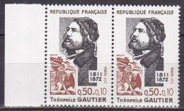 N° 1728 Personnages Célèbres: Théophile Gautier: Une Paire De 2  Timbres - Ongebruikt