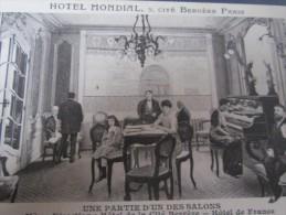 Paris h�tel mondial 5 cit� berg�re une partie d'un des salons m�me direction h�tel de France circul� CPA