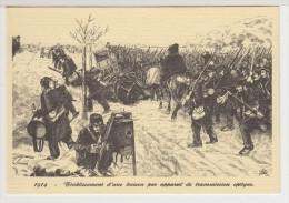 TRANSMISSION Carte Double  Représentant L´établissement D´une Liaison Par Appareil De Transmission OPTIQUE  En 1914 - Autres