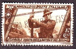 REGNO 1932 N.326 MARCIA SU ROMA 10c. BRUNO USATO 1 VALORE - Oblitérés