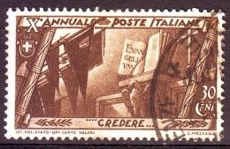 REGNO 1932 N.330 MARCIA SU ROMA 30c. BRUNO USATO 1 VALORE - Oblitérés