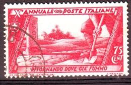 REGNO 1932 N.334 MARCIA SU ROMA  75c. CARMINIO  USATO 1 VALORE - Oblitérés