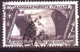 REGNO 1932 N.335 MARCIA SU ROMA  1L. VIOLETTO NERO  USATO 1 VALORE - Oblitérés