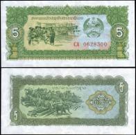 Laos 5 Kip Elephant Animal Banknotes Uncirculated UNC - Bankbiljetten