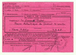 Antarctique - TAAF - DDU - Avis De Réception 515 - C5 - Recommandé De Dumont D´Urville 10.12.1987 - Terres Australes Et Antarctiques Françaises (TAAF)