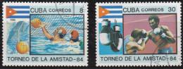 SP 059) Kuba MiNr  2878, 2879 : Wasserball, Boxen (Freundschaftsspiele Der Sozialistischen Länder 1984) - Francobolli