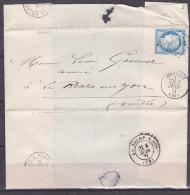 France - Lettre N° 60 Obl 1875 - Cachets: GC 1634 / Gencais / La Rochelle A Paris / La Roche Sur Yon - 1849-1876: Classic Period