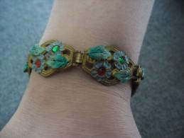 BRACELET ART DECO Floral @ Ancien Et Top état ! Fermeture A Clip Excellente également - Voir Les 3 Photos - Bracelets