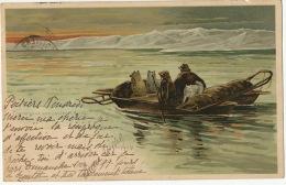 Traversant Une Coulée 7/6/1895 Dessin Par Goldfeld 1898Timbrée 1900 Expedition Polaire North Pole - Groenland