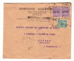Compagnie Algérienne Alger Algérie Zagreb Yougoslavie Semeuse Surcharge 1933 - Algérie (1924-1962)