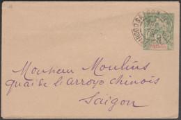Indochine 1903. Entier Postal Enveloppe ACEP EN 10. De Saigon, Cochinchine, à Saigon - Lettres & Documents