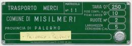 PALERMO SPLENDIDA TARGA TRASPORTO MERCI SU CARRETTO TRAINATO DA FORZA ANIMALE 1959 - Transporto