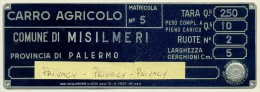PALERMO SPLENDIDA TARGA CARRO AGRICOLO SU CARRETTO TRAINATO DA FORZA ANIMALE 1959 - Transporto