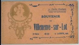 47 - Carnet Complet De 10 Cartes Couleurs De VILLENEUVE SUR LOT (1ère Série Beige) - A. Lacoste - Villeneuve Sur Lot