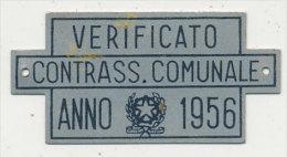 TARGHETTA  DA APPORRE A CARRETTO TRAINATO DA FORZA ANIMALE 1956 - Transporto