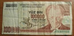 1970 - Turquie - Turkey - 100000 YUZ BIN TURK LIRASI, J72172321 - Turquie