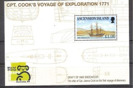 ** ASCENSION SHEET CTP. COOK'S VOYAGE OF EXPLORATION 1771 MNH - Famous People