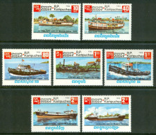 1985 Kampuchea Navi Boats Ships Bateaux Navires Set MNH** -Qq2 - Kampuchea