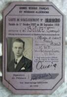 Carte De Surclassement (chemins De Fer) 1937-1938 - Titres De Transport