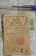 Carte De Tabac Avec Timbre Fiscal De 20 Francs « Contribution Aux Dépenses De L'entraide Française » (1945) - Documents