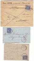 """ARIEGE - LSC - 3 Lettres De MASSAT, T18 Sur N° 90, T84 Sur N° 90, Retour à L'envoyeur """"2259"""" - 1877-1920: Periodo Semi Moderno"""
