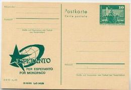 DDR P79-4b-80 C105-c Postkarte PRIVATER ZUDRUCK Esperanto Weltkugel Leipzig 1980 - Esperanto