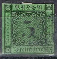 Sello  3 Kreuzer, BADEN, Estado Aleman, Num 6 º - Baden
