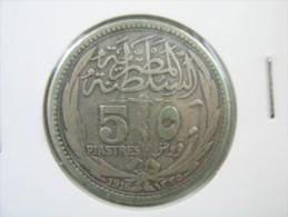 EGYPT 5  PIASTRES 1916 SILVER . - Egypte