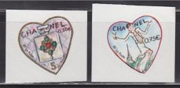 Saint Valentin Coeur 2004 Autocollant 0.50€ Et 0.75€ Autoadhésif N°38 Et 39 Du Couturier Chanel, Neufs La Paire - Adhesive Stamps