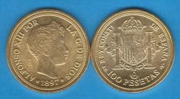 ALFONSO XIII  100  PESETAS  1.897  ORO  Madrid   SC/UNC     Réplica       T-DL-10.863 - [ 1] …-1931 : Reino