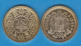 FRANCISCO FRANCO     2,50 PESETAS   1.944  Cu-Al   Madrid   SC/UNC     Réplica       T-DL-10.871 - [ 4] 1939-1947 : Gobierno Nacionalista