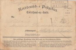 NDP Sehr Frühe Feldpostkarte Rheda In Westfalen 29.7.70 Gel. Nach Lippstadt - Norddeutscher Postbezirk