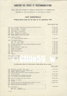 Ministère Des Postes Et Télécommunications - Liste Semestrielle Timbes-poste émis Du 16 Mars Au 15 Septembre 1971 - Documents De La Poste