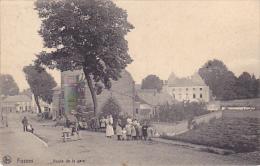 Fosses Route De La Gare Super Animé  Circulé En 1911 - Fosses-la-Ville