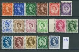 BL5-89 GREAT BRITAIN 1952-54 YV 262-278 WM TUDOR CROWN, QUEEN ELISABETH, WILDING. MNH, POSTFRIS, NEUF**. - 1952-.... (Elizabeth II)