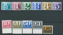BL5-100 GREAT BRITAIN 1970 POSTAGE DUE YV 73-83 MNH, POSTFRIS, NEUF**. - Strafportzegels