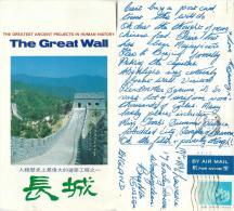 Great Wall, China Postcard Posted 1987 Hong Kong Stamp - Chine