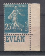 Bande Pub - Semeuse 25c Bleu YT - Neuf **/* (petite Trace De Charnière) - EVIAN - Advertising